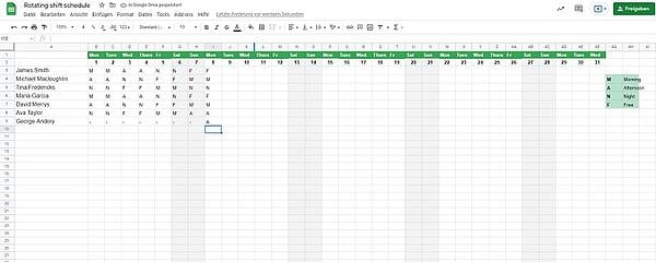 Rotating Shift Excel -2