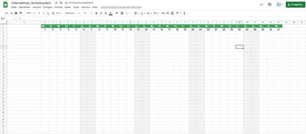 Excel Schichtsystem 1