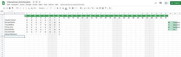 Excel Schichtsystem