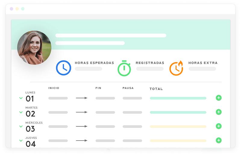 interface de la herramienta de control horario de Kenjo