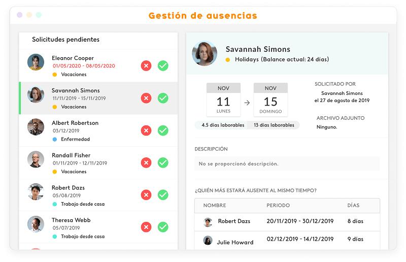 interface de la herramienta de gestión de vacaciones de Kenjo