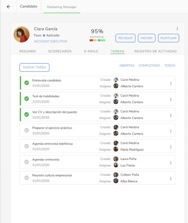 interfaz del software de kenjo para la puntuación del candidato